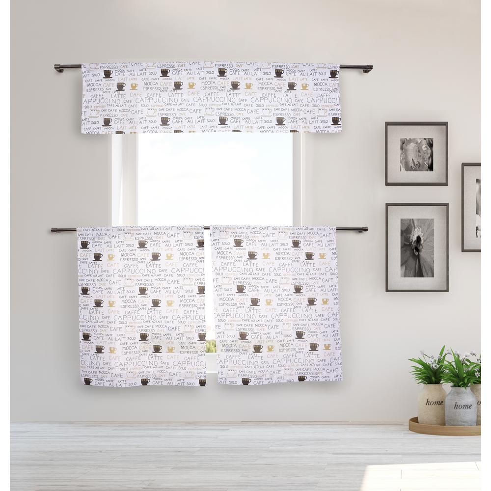 Duck River Mariko Kitchen Valance in Beige-Black - 15 in. W x 58 in. L  (3-Piece)