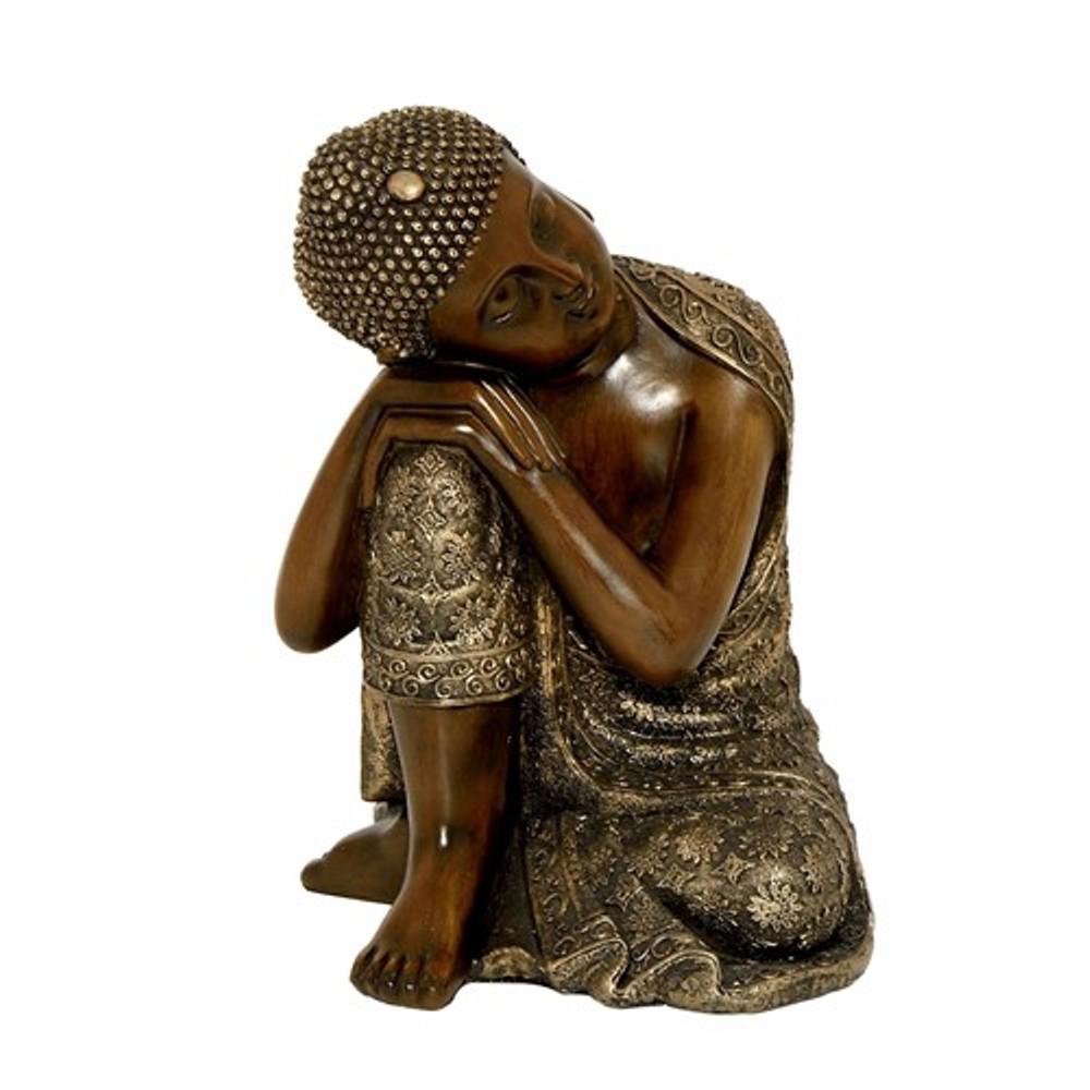 Zaer Ltd. International 14 In. T Sleeping Polyresin Buddha With Right Knee  Up