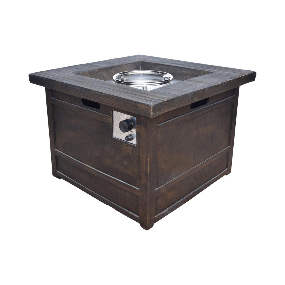 Noble House Clyde 32 in. x 23 in. Square Concrete Propane Fire Pit in Natural Wood