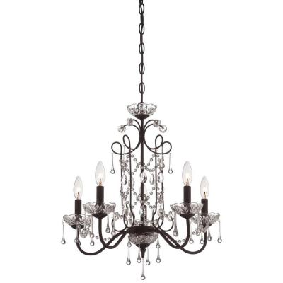 5-Light Aged Kinston Bronze Mini Chandelier