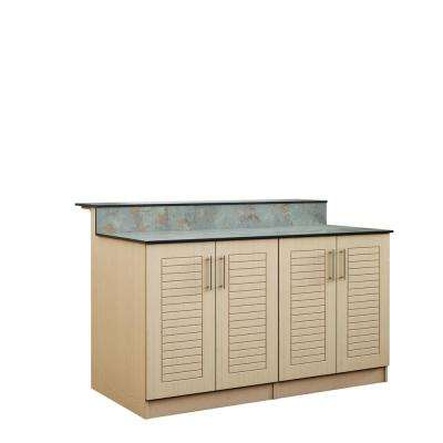 Key West 59.5 in. Outdoor Bar Cabinets with Countertop 4 Full Height Doors in Sand
