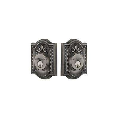 Meadows Plate 2-3/8 in. Backset Double Cylinder Deadbolt in Antique Pewter