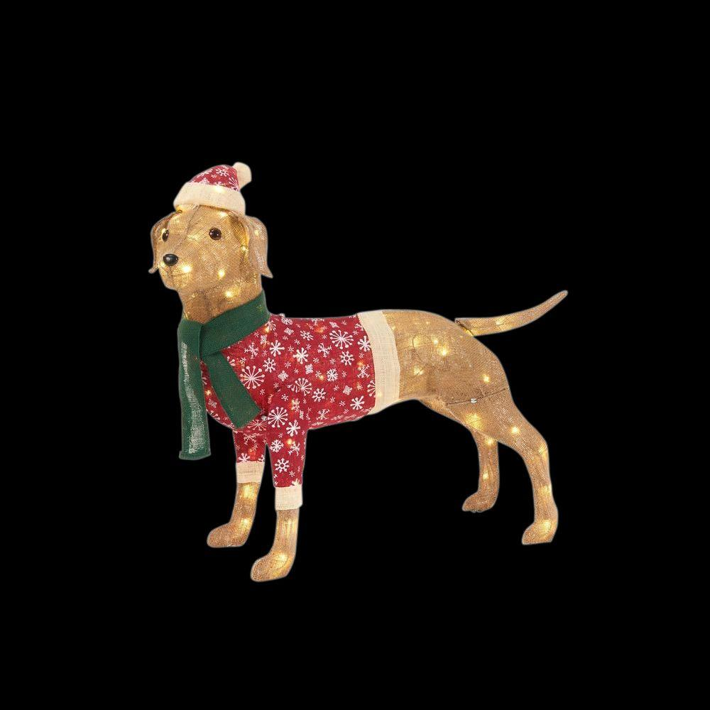 Home Accents Holiday 35 in LED Lighted Burlap Dog with Holiday