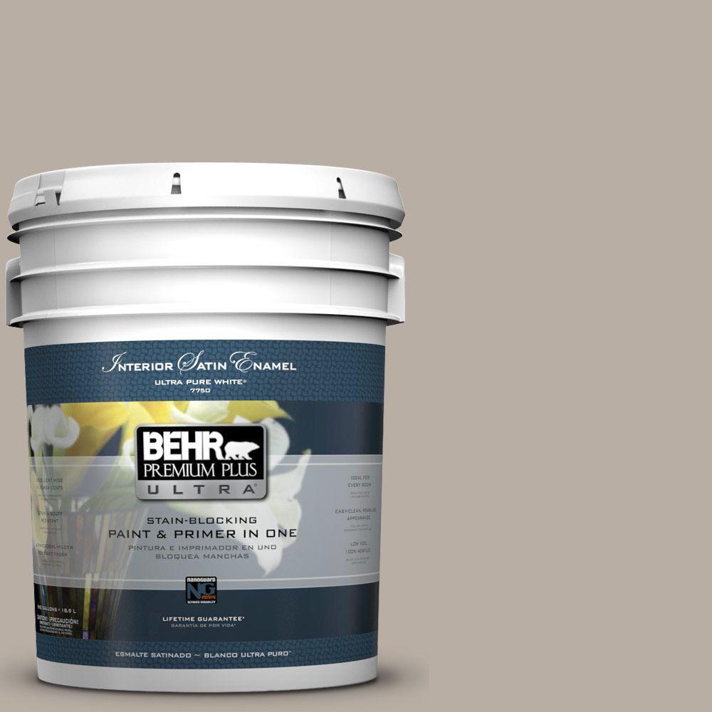 BEHR Premium Plus Ultra 5-gal. #N200-3 Nightingale Gray Satin Enamel Interior Paint