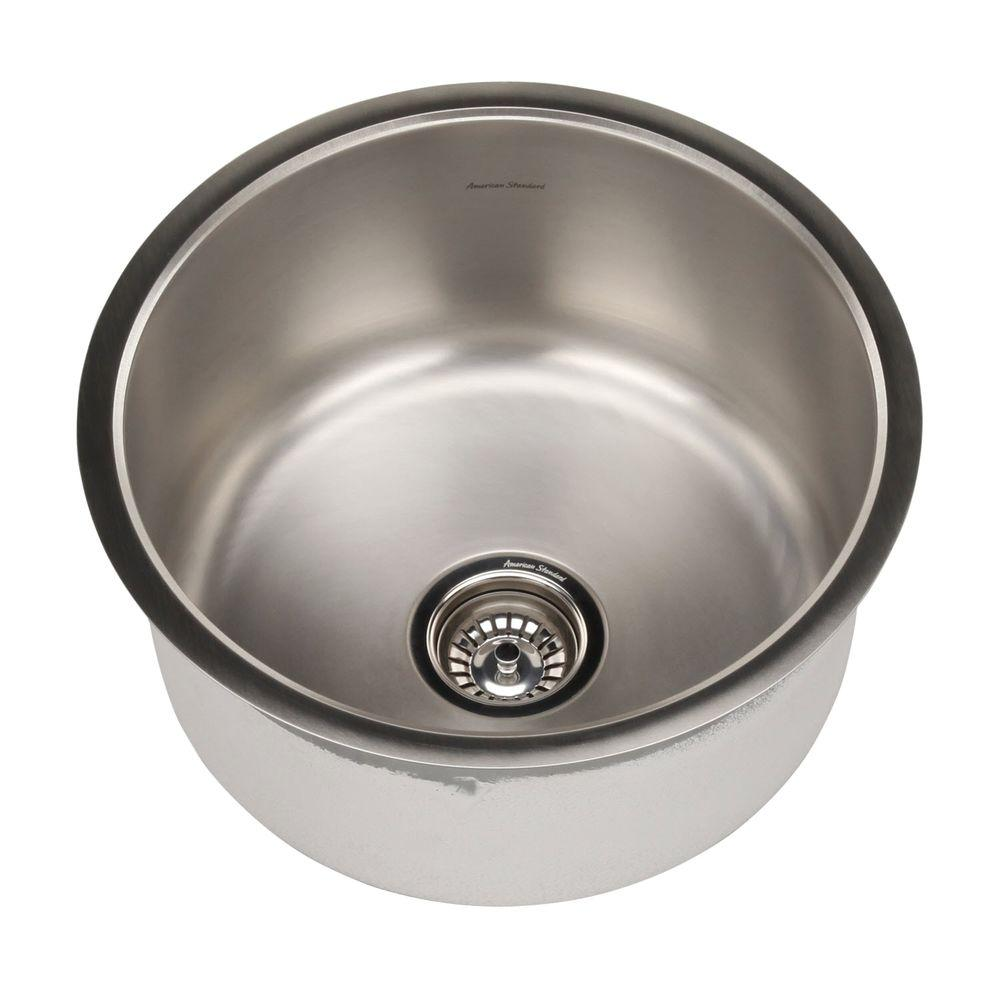 American Standard Prevoir Round Undermount Brushed Stainless Steel 18.125x18.125x9 0-Hole Single Bowl Kitchen Sink