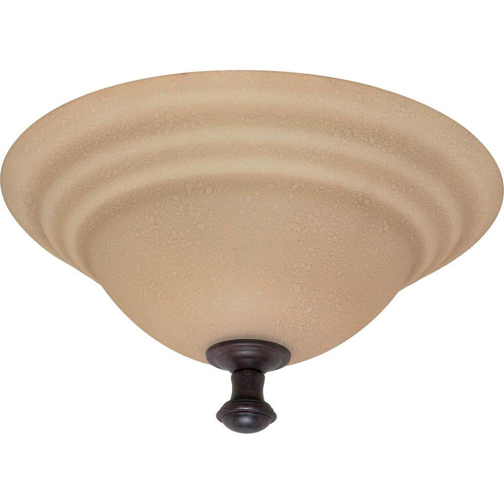 2-Light Old Bronze Flush Mount with Amber Water Glass