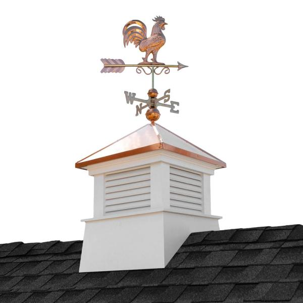 Manchester 26 in. x 26 in. x 59 in. H Square Vinyl Cupola with Rooster Weathervane