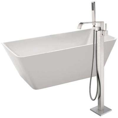 Zenith 67 in. Acrylic Flatbottom Non-Whirlpool Bathtub in White with Angel Faucet in Brushed Nickel