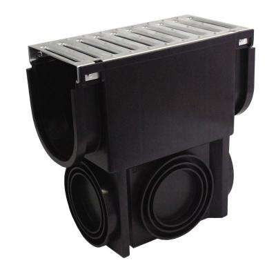 Easy Drain Series Slim Drainage Pit and Catch Basin for Modular Trench and Channel Drain System, Galvanized Steel Grate