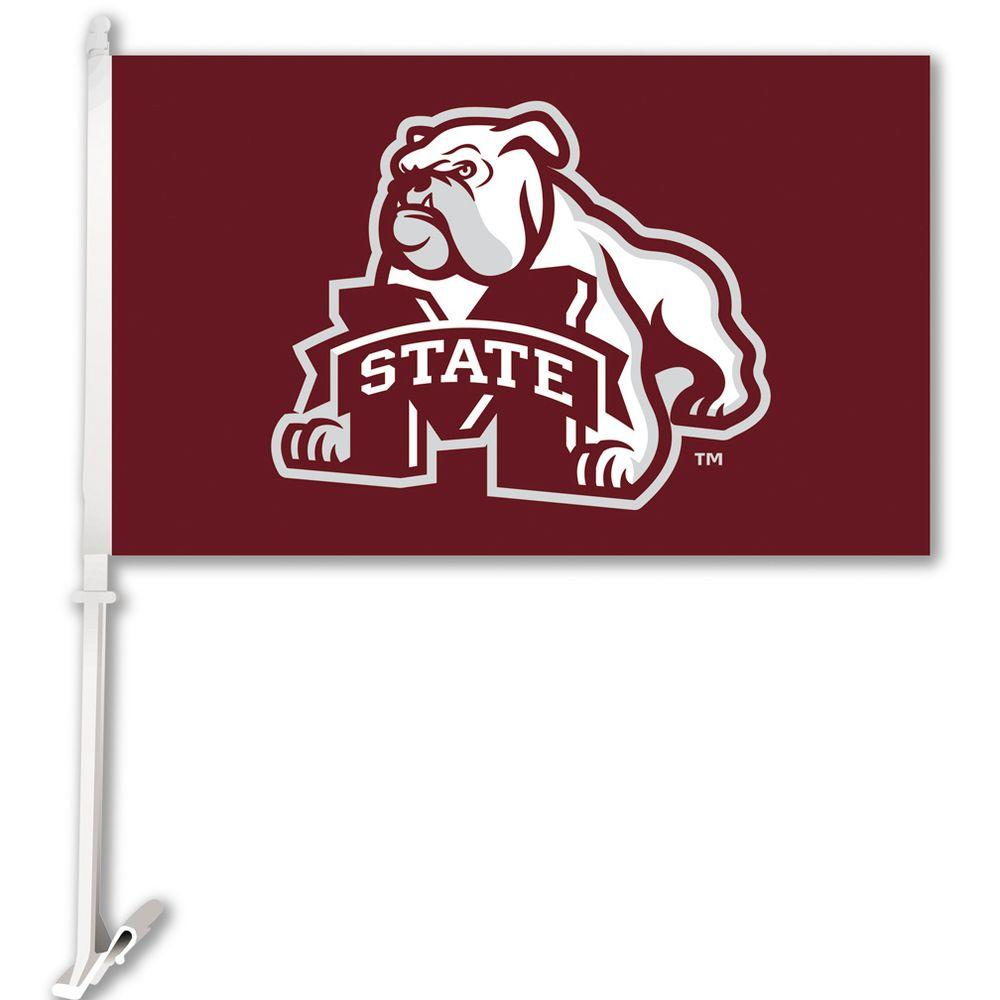 Ncaa 11 in. x 18 in. Mississippi State 2-Sided Car Flag with 1-1/2 ft. Plastic Flagpole (Set of 2)