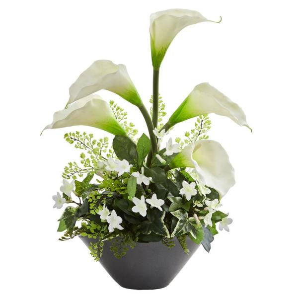 Nearly Natural Indoor Calla Lily and Stephanotis Artificial Arrangement in Ceramic Vase