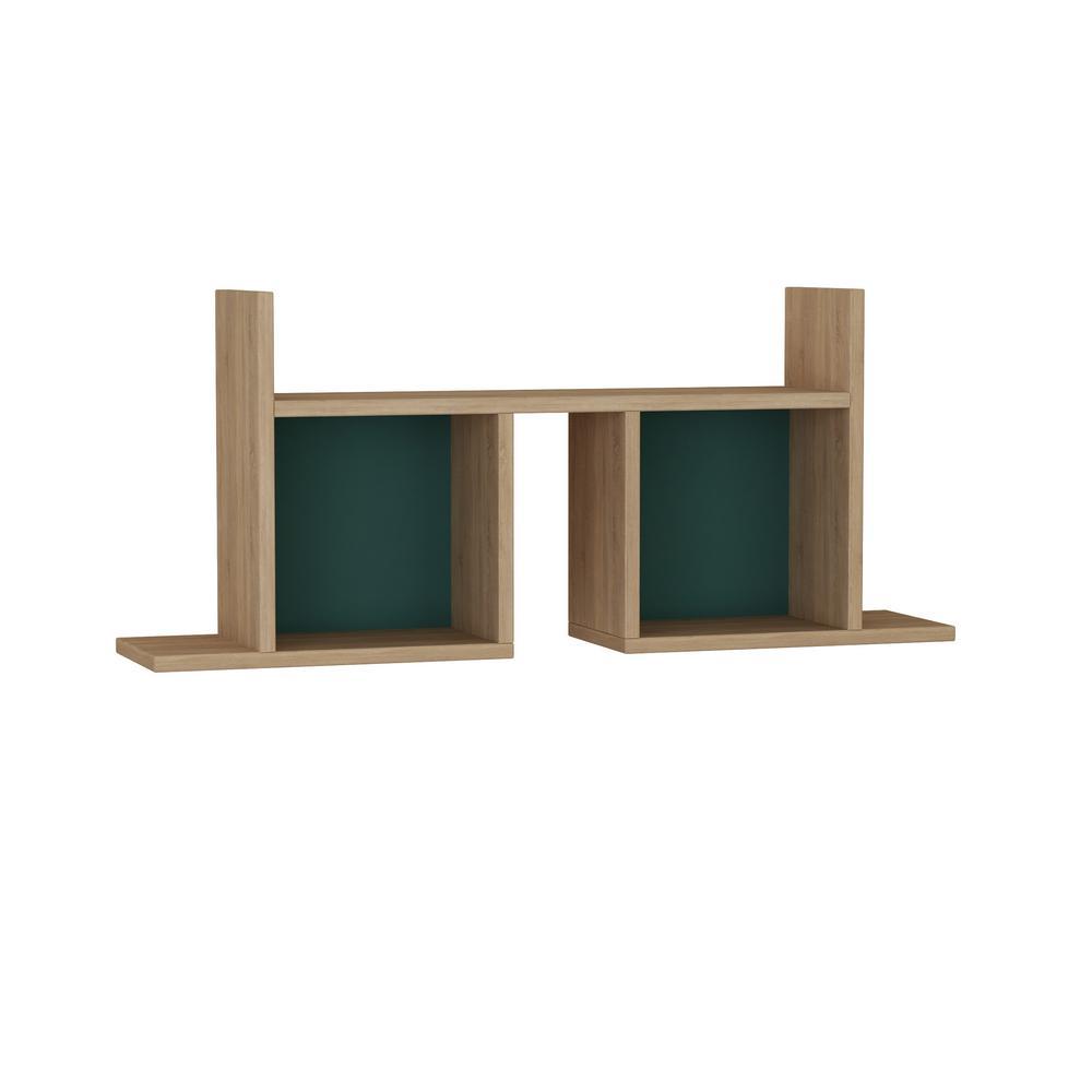 Ada Home Decor Waldo Oak and Turquoise Modern Wall Shelf DCRW2304
