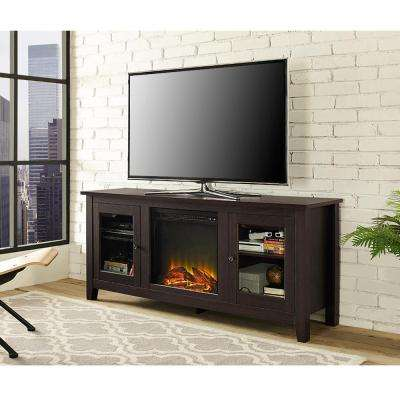 58 in. Wood Media TV Stand Console Electric Fireplace in Espresso