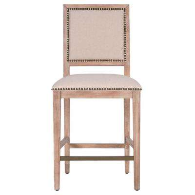 Dexter 26 in. Natural Fabric, Stone Wash Counter Stool (Set of 2)