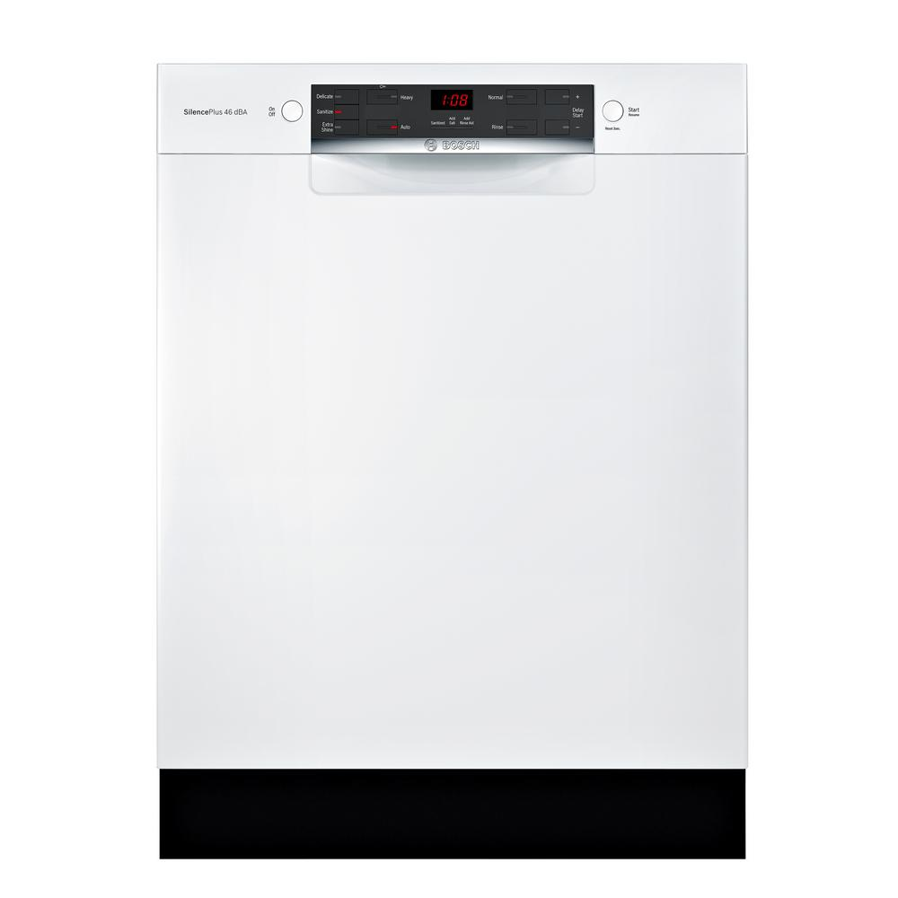 Bosch 300 Series 24 in. ADA Front Control Tall Tub Dishwasher in White with  Stainless