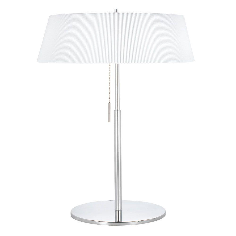 Catherine 22 in. Incandescent Polished Chrome Table Lamp with White Shades