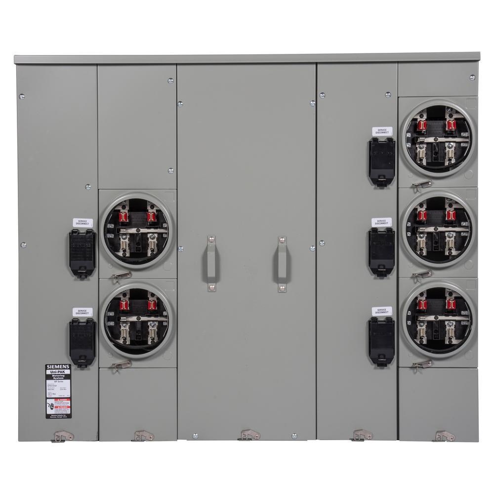 Uni-PAK 5-Gang 600 Amp Ringless Style 100kA Multi-Family Metering with Horn Bypass