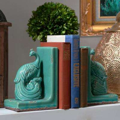 8 in. H Peacock Decorative Sculpture in Blue Gloss Finish