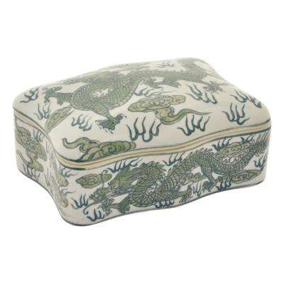 3.5 in. Green and White Ceramic Box