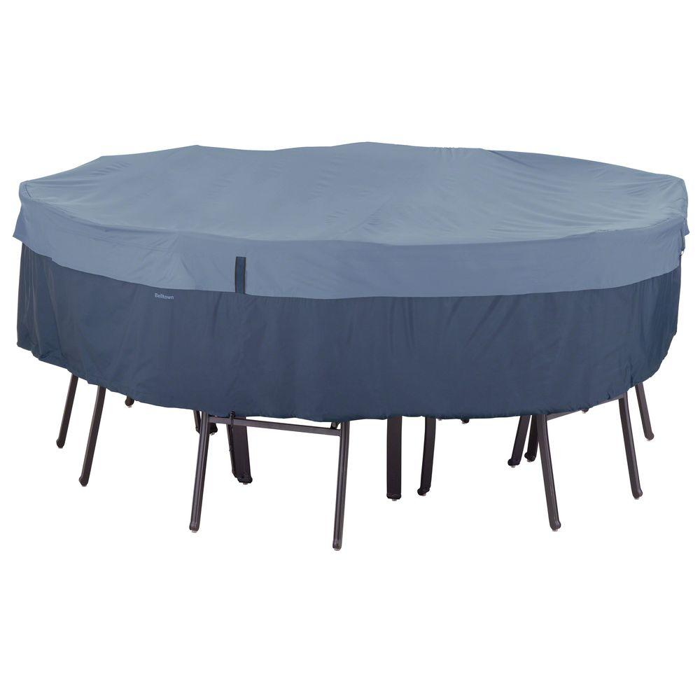 Clic Accessories Belltown Medium Skyline Blue Round Table And Cover Support Pole