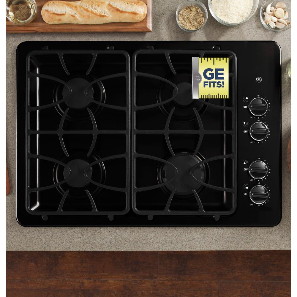 GE 30 in. Gas Cooktop in Black with 4 Burners including Precise Simmer Burner