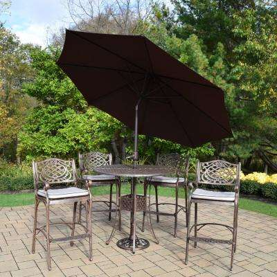 7-Piece Aluminum Outdoor Bar Height Dining Set with Oatmeal Cushions and Brown Umbrella