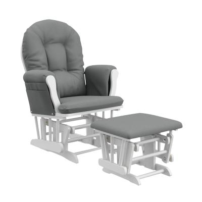 Hoop Glider White with Gray Cushion Ottoman Set