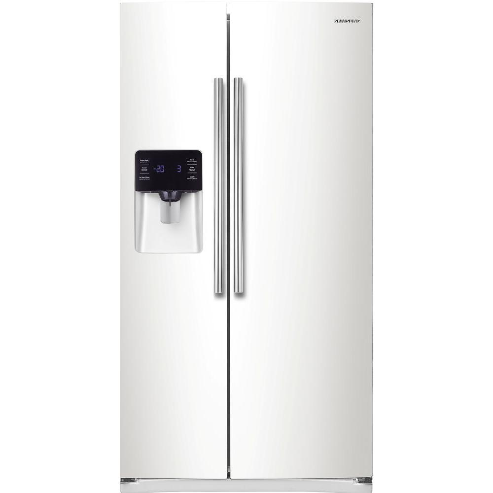 samsung 24 5 cu ft side by side refrigerator in white rs25h5111ww the home depot. Black Bedroom Furniture Sets. Home Design Ideas