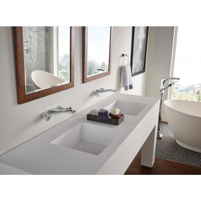 Tesla 2-Handle Wall Mount Bathroom Faucet Trim Kit in Chrome (Valve Not Included)