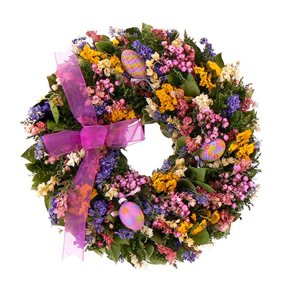 The Christmas Tree Company Easter Celebration 16 in. Dried Floral Wreath-DISCONTINUED