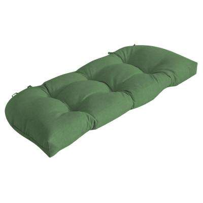 41.5 in. x 18 in. Moss Leala Texture Countoured Tufted Outdoor Bench Cushion