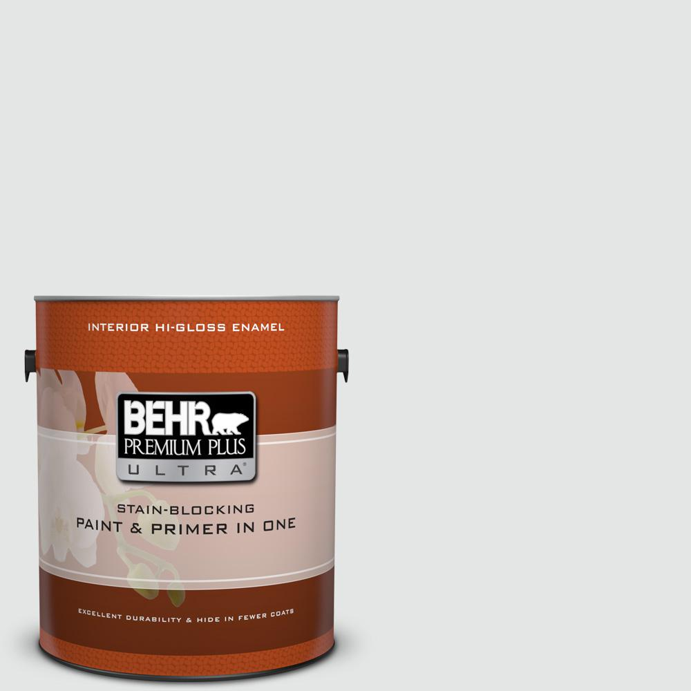 BEHR Premium Plus Ultra 1 gal. #PPU26-13 Silent White Hi-Gloss Enamel Interior Paint