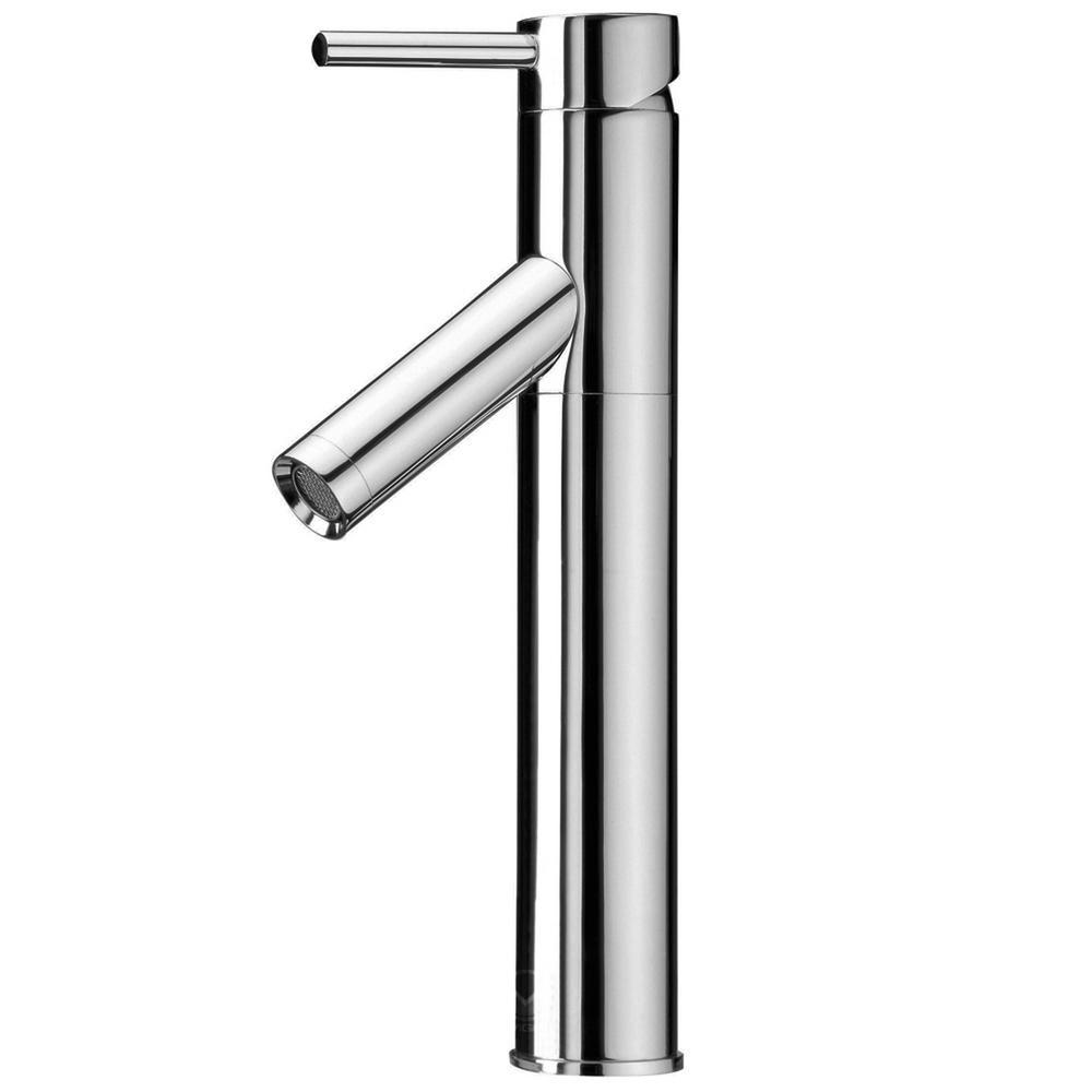 single hole vessel bathroom faucet in chrome