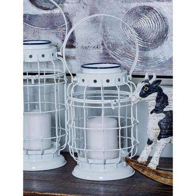 White Cage-Inspired Candle Lantern with Handle