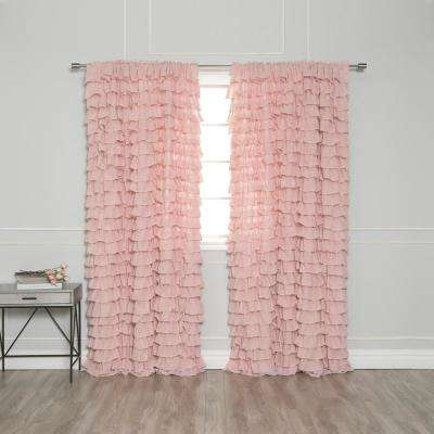 84 in. L Ruffle Cascade Curtains in Pink