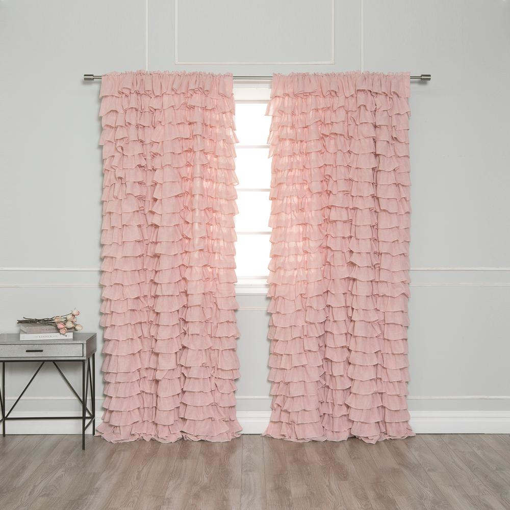 Best Home Fashion 84 In. L Ruffle Cascade Curtains In Pink