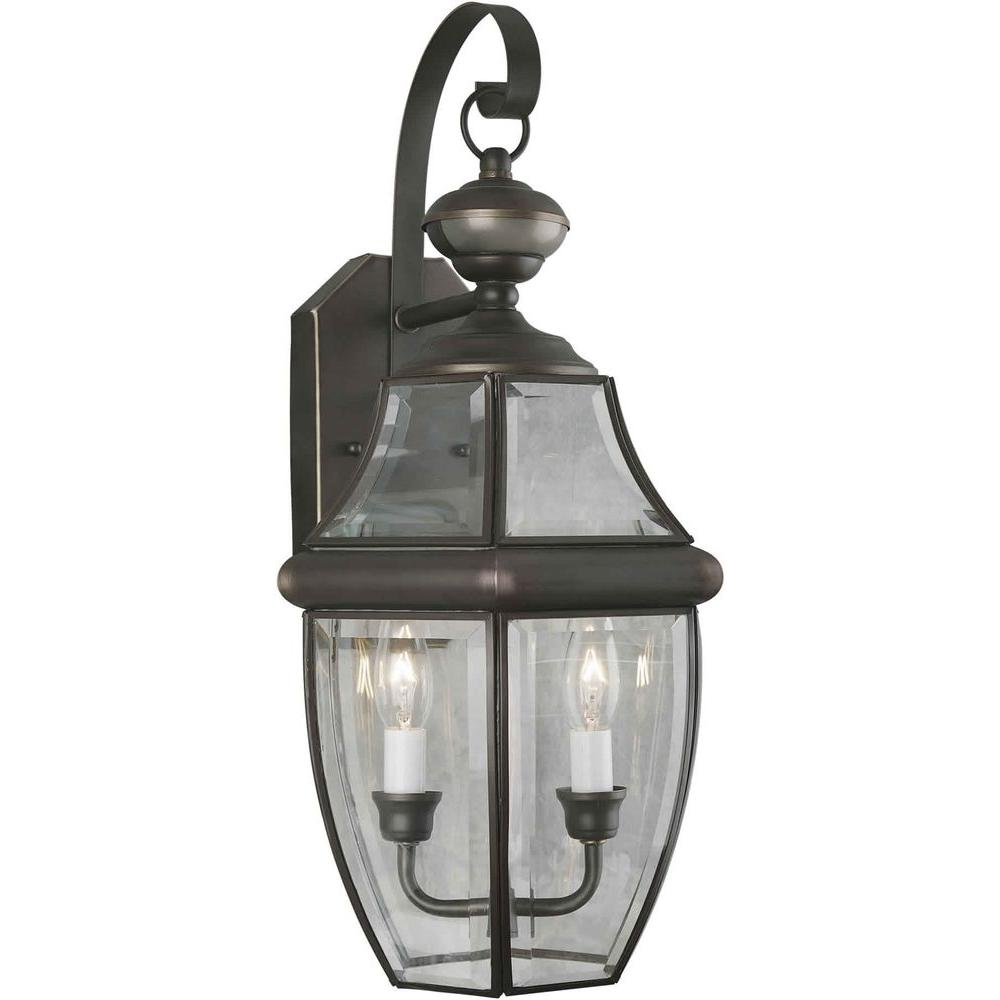 Illumine 2 Light Outdoor Lantern Royal Bronze Finish Clear Beveled Glass Panels-DISCONTINUED