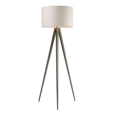 Salford 61 in. Satin Nickel Floor Lamp with Off-White Linen Shade