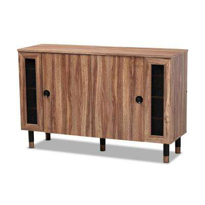 Valina 30 in. H x 47 in. W 16-Pair Oak Wood Shoe Storage Cabinet
