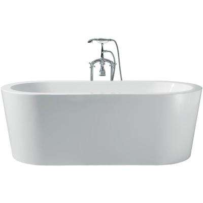 67 in. Acrylic Center Drain Oval Flat Bottom Freestanding Bathtub in White