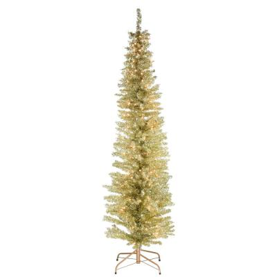 6 ft. Champagne Tinsel Tree with Metal Stand and 150 Clear Lights