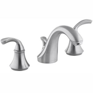 Forte 8 in. Widespread 2-Handle Low-Arc Bathroom Faucet in Brushed Chrome with Sculpted Lever Handles