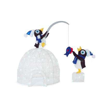 christmas led lighted tinsel and acrylic igloo with fishing penguins