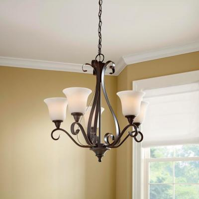 Westwood 5-Light Oil-Rubbed Bronze Chandelier with Frosted White Glass Shades