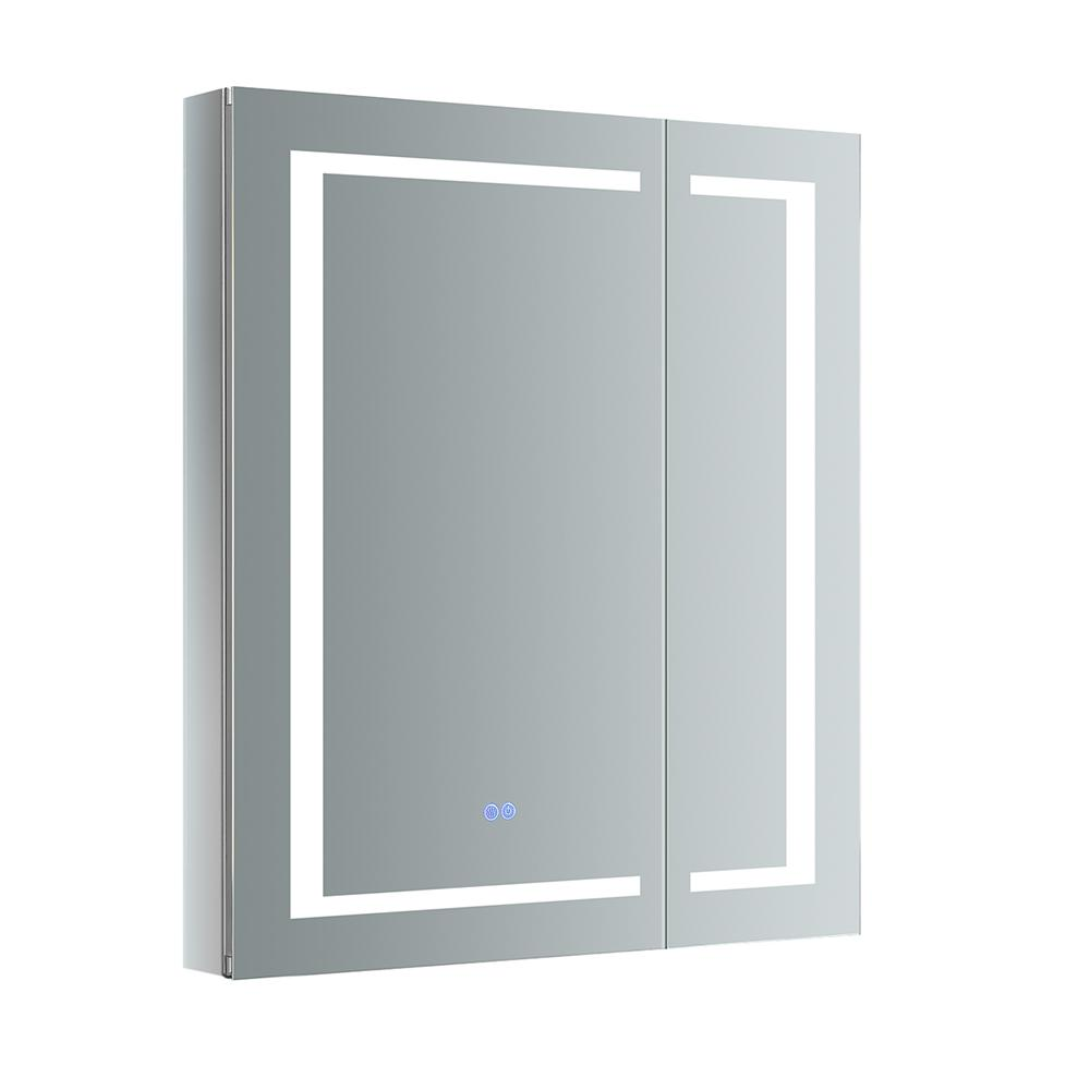 H Recessed Or Surface Mount Medicine Cabinet With Led Lighting And Mirror Defogger