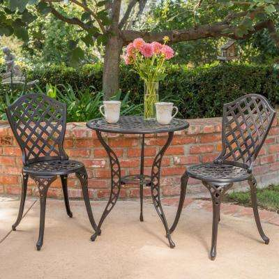 La Sola Black With Bronze 3 Piece Metal Round Outdoor Bistro Set