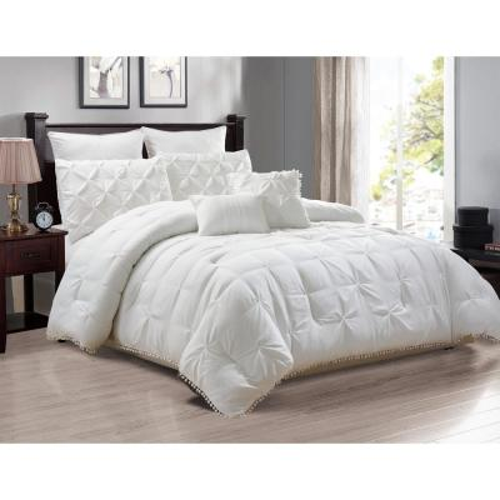 Esmalinda 7-Piece White Queen ComforterSet
