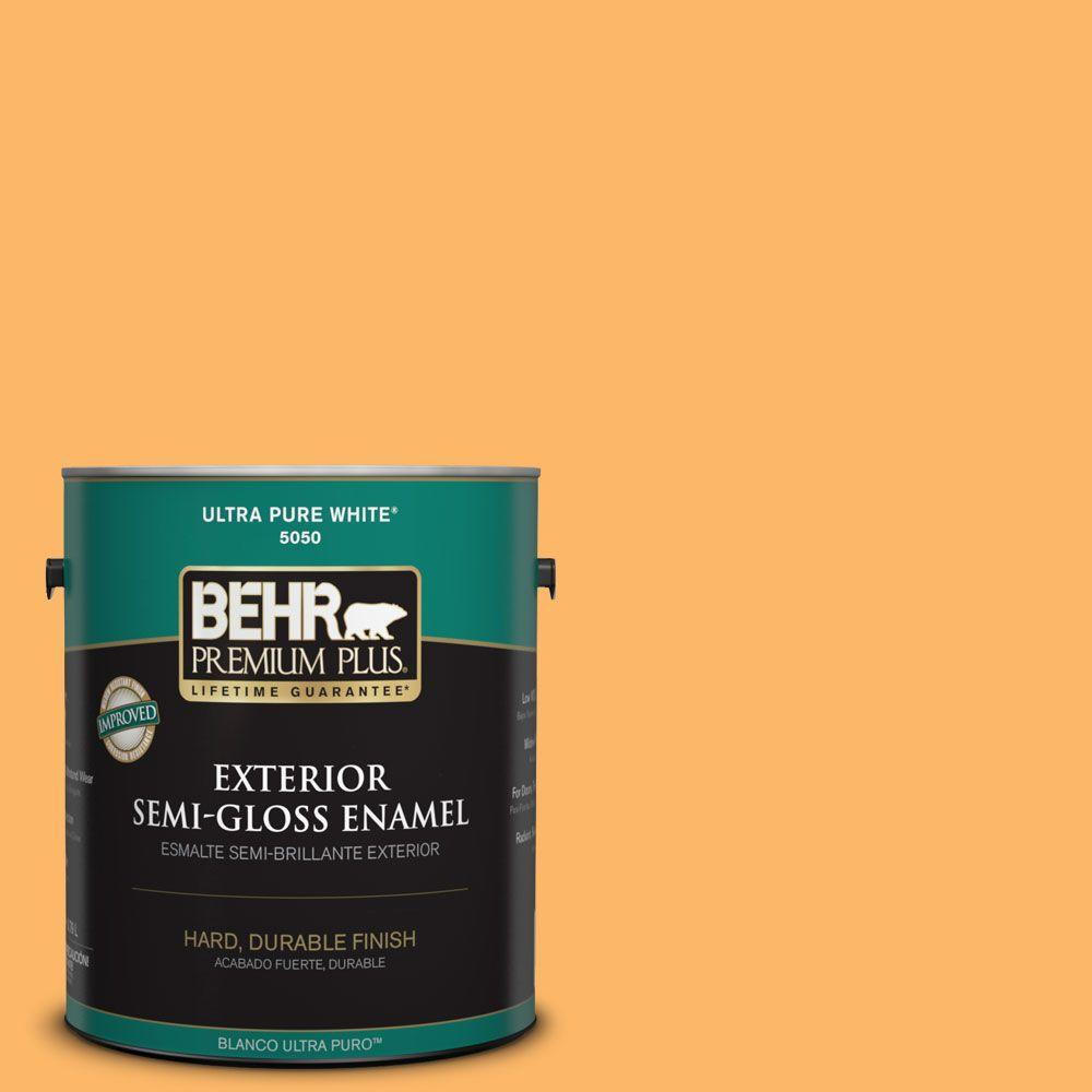 1-gal. #HDC-SM14-11 Yellow Polka Dot Semi-Gloss Enamel Exterior Paint
