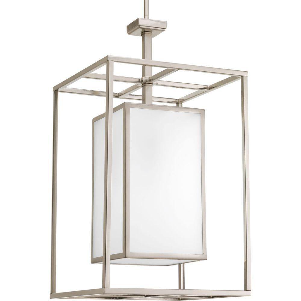 Progress Lighting Haven Collection 1 Light Brushed Nickel Foyer Pendant With Etched White Glass