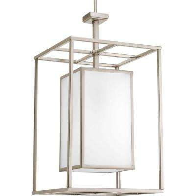Haven Collection 1-Light Brushed Nickel Foyer Pendant with Etched White Glass